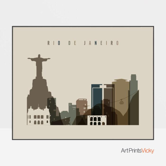 Rio De Janeiro art print landscape earth tones 3