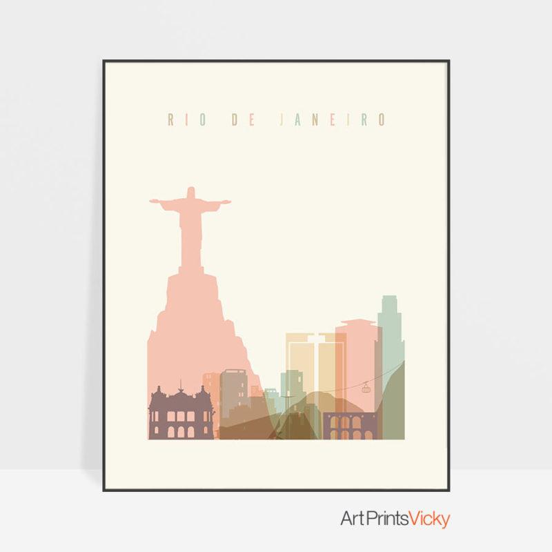 Rio de Janeiro art print skyline pastel cream