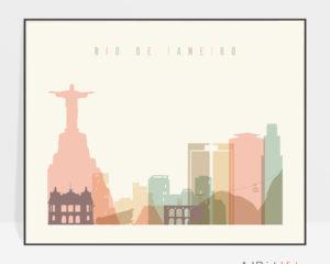Rio De Janeiro poster skyline pastel cream landscape