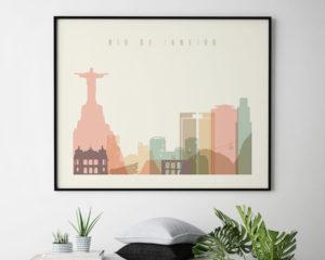 Rio De Janeiro poster skyline pastel cream landscape second