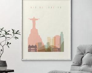 Rio de Janeiro art print skyline pastel cream second
