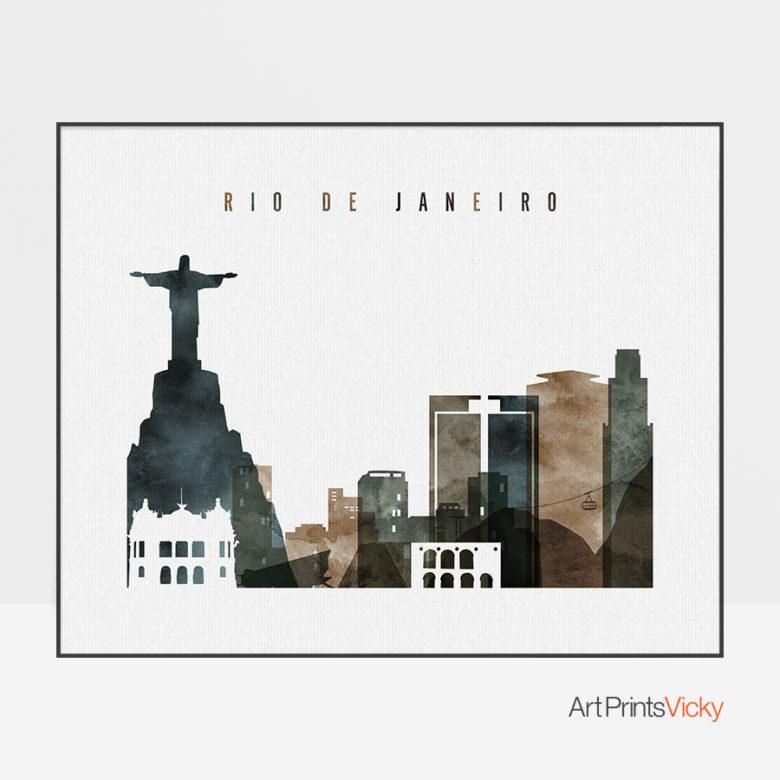 Rio De Janeiro poster watercolor 2 landscape