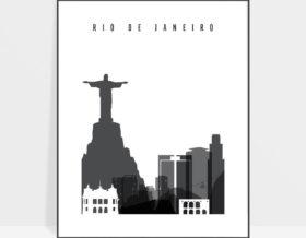 Rio De Janeiro black and white skyline poster
