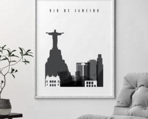 Rio De Janeiro black and white skyline poster second