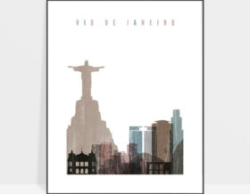 Rio De Janeiro skyline poster distressed 1