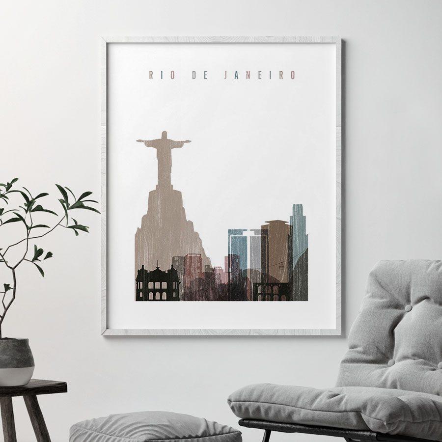 Rio De Janeiro skyline poster distressed 1 second