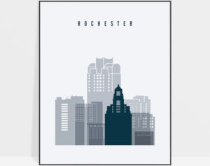 Rochester skyline poster grey blue