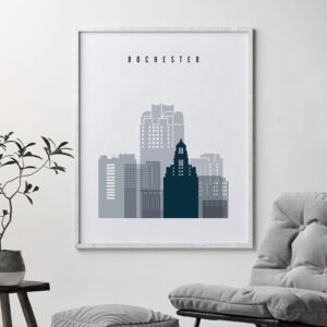 Rochester skyline poster grey blue second