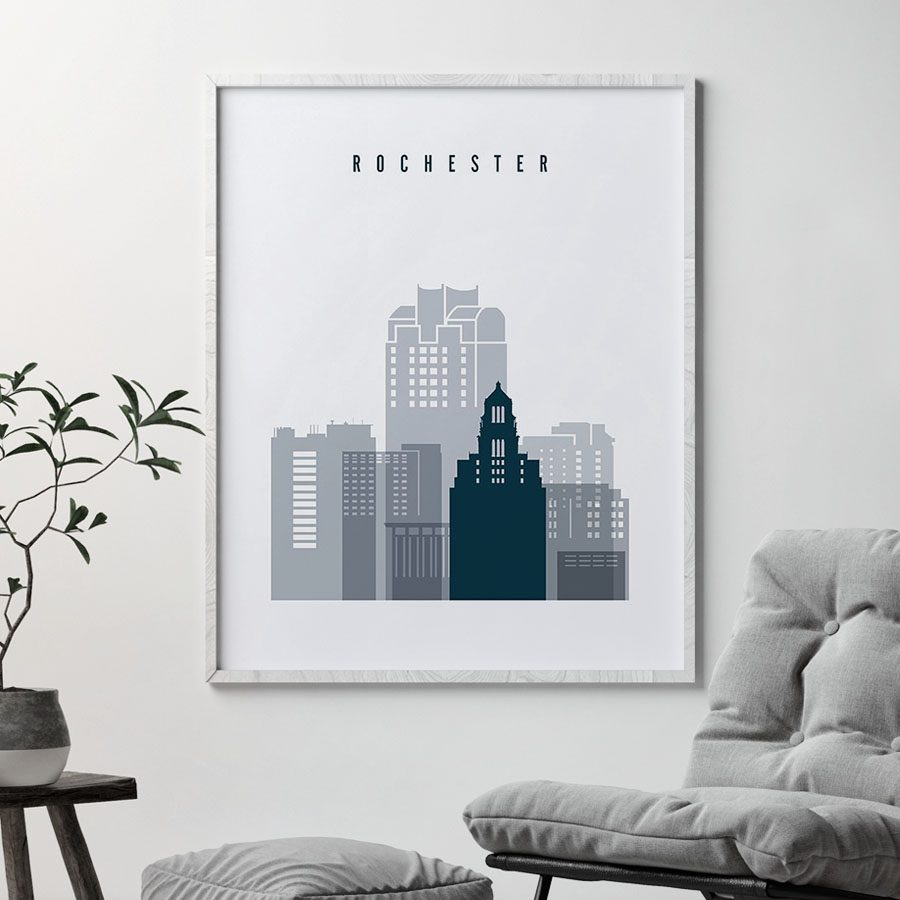 Rochester skyline poster grey blue second