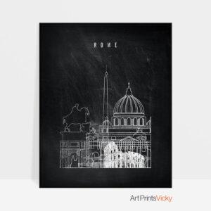 Rome chalkboard black white skyline print