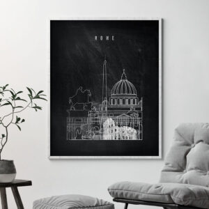 Rome chalkboard black white skyline print second