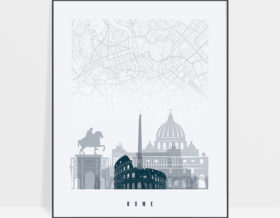 Rome map poster skyline grey blue