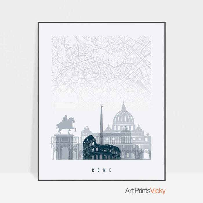 Rome map poster skyline grey blue