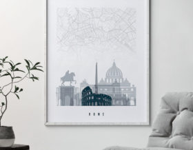 Rome map poster skyline grey blue second
