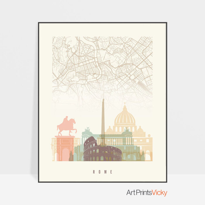 Rome map print skyline pastel cream