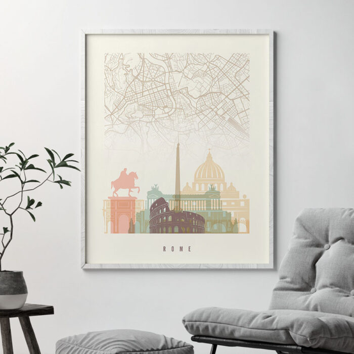Rome map print skyline pastel cream second