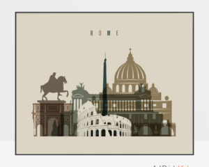 Rome art print landscape earth tones 3