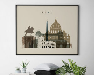 Rome art print landscape earth tones 3 second