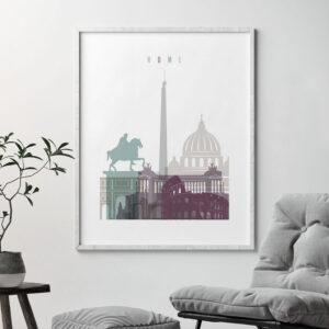 Rome print skyline pastel 2 second