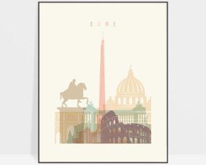 Rome cityscape art pastel cream