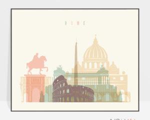 Rome travel poster pastel cream landscape