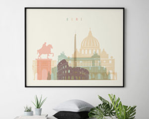 Rome travel poster pastel cream landscape second