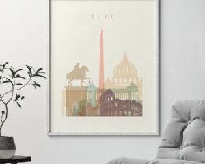 Rome cityscape art pastel cream second