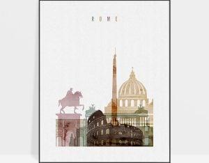 Rome skyline art watercolor 1
