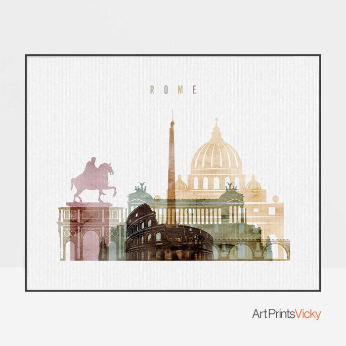 Rome poster watercolor 1 landscape