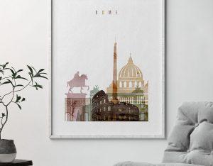 Rome skyline art watercolor 1 second