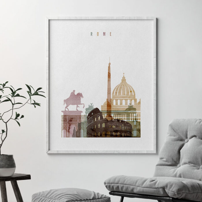 Rome skyline art watercolor 1 second