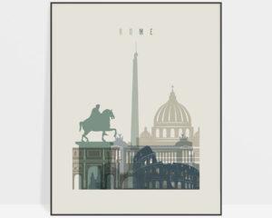 Rome print skyline earth tones 1