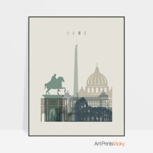 Rome print skyline earth tones 1
