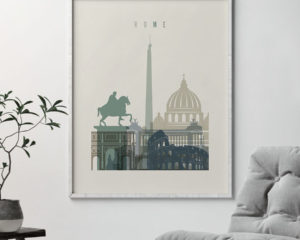 Rome print skyline earth tones 1 second