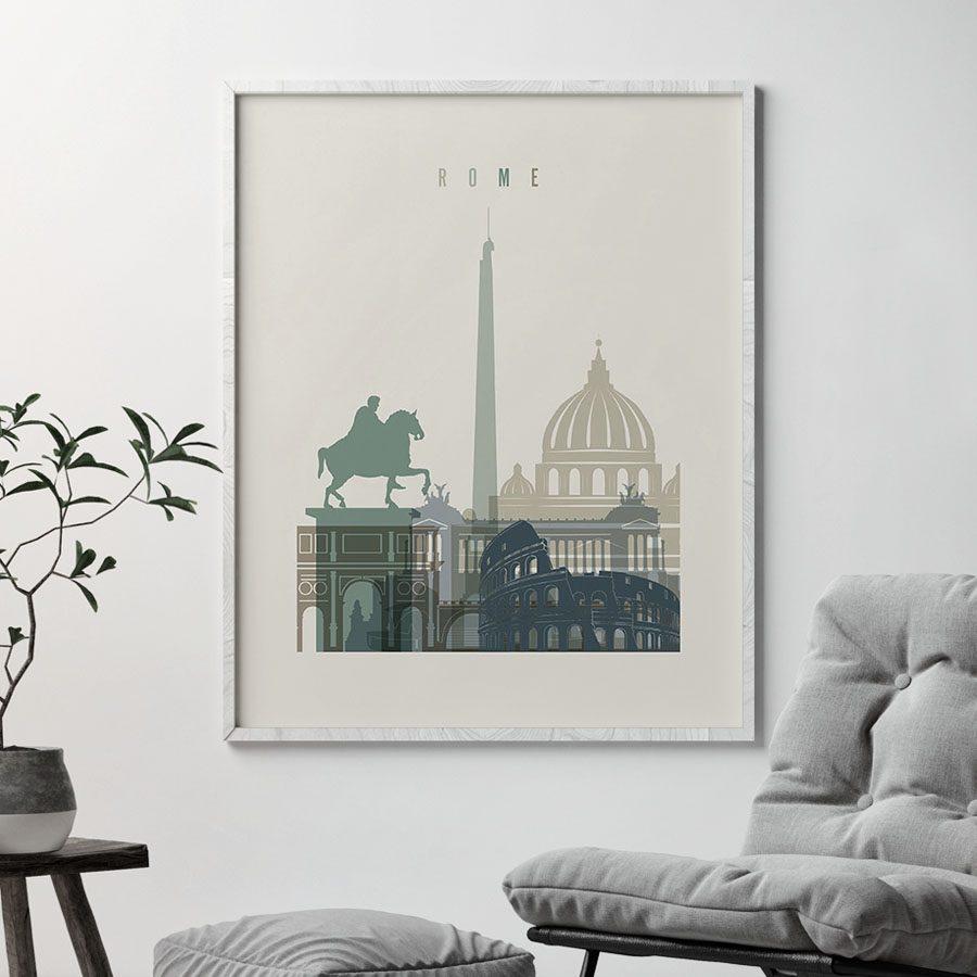 Rome print skyline earth tones 1 second