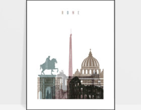 Rome skyline poster distressed 1