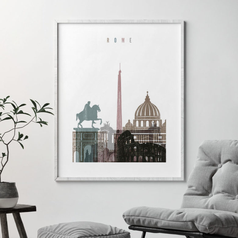 Rome skyline poster distressed 1 second