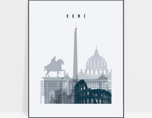 Rome skyline poster grey blue