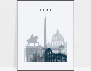 Rome skyline poster grey blue