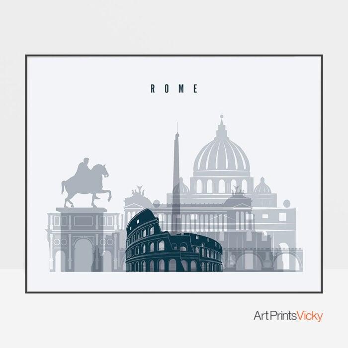 Rome skyline art grey blue landscape