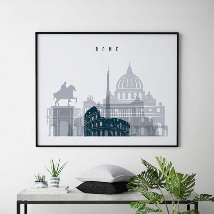 Rome skyline art grey blue landscape second