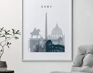 Rome skyline poster grey blue second