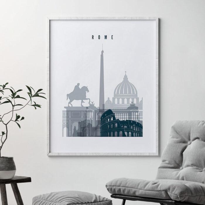 Rome skyline poster grey blue second