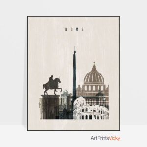 Rome skyline print distressed 2