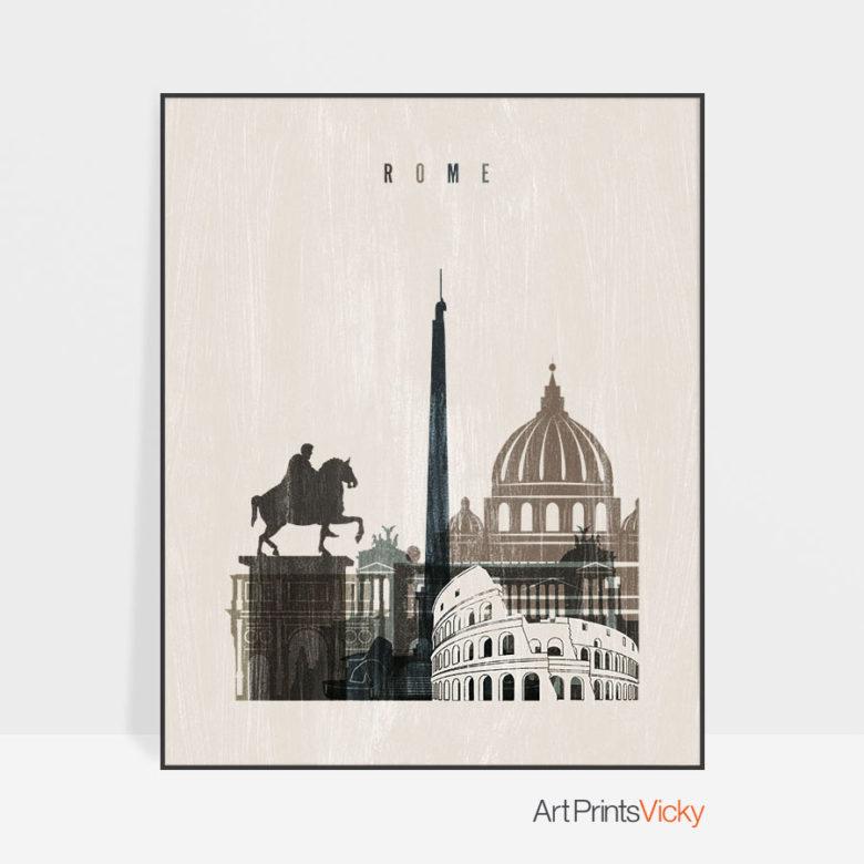 Rome skyline print distressed 2