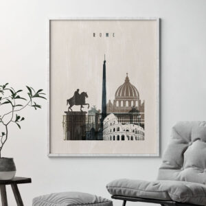 Rome skyline print distressed 2 second