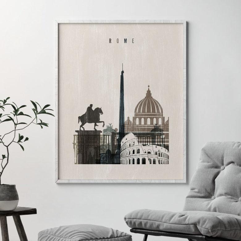 Rome skyline print distressed 2 second
