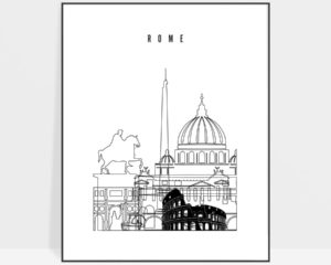 Rome black and white skyline poster