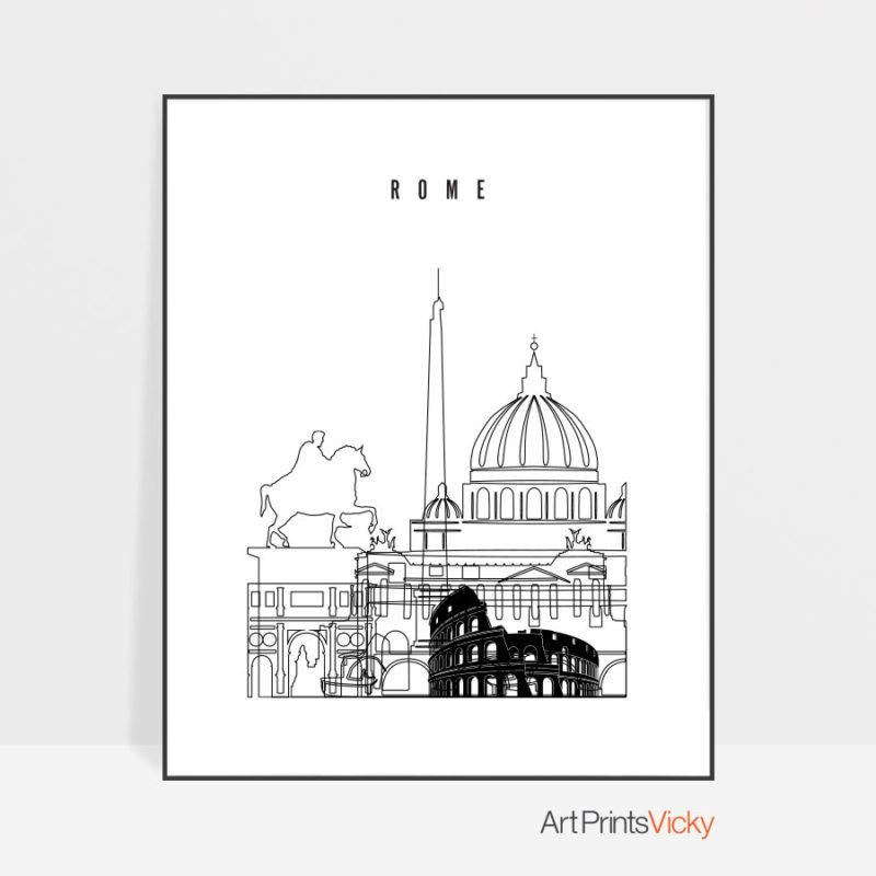 Rome black and white skyline poster