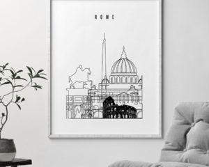 Rome black and white skyline poster second